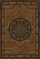 Spicher & Co. vinyl floorcloth floor mat wood inlays star pattern brown black wood area rug