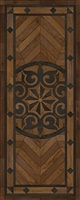 Spicher & Co. vinyl floorcloth floor mat wood inlays star pattern brown black wood runner