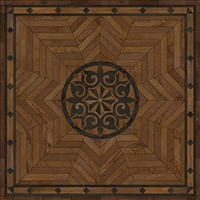 Spicher & Co. vinyl floorcloth floor mat wood inlays star pattern brown black wood square