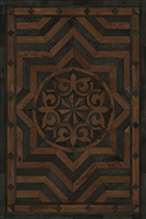 Spicher & Co. vinyl floorcloth floor mat wood inlays black brown medallion star