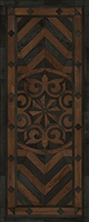 Spicher & Co. vinyl floorcloth floor mat wood inlays black brown medallion star runner
