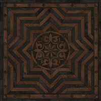 Spicher & Co. vinyl floorcloth floor mat wood inlays black brown medallion star square