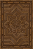 Spicher & Co vinyl floorcloth floor mat wood inlays browns medallion star