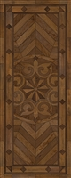 Spicher & Co vinyl floorcloth floor mat wood inlays browns medallion star runner