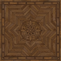 Spicher & Co vinyl floorcloth floor mat wood inlays browns medallion star square