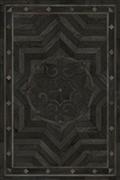 Spicher & Co vinyl floorcloth floor mat wood inlays black gray medallion star