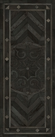 Spicher & Co vinyl floorcloth floor mat wood inlays black gray medallion star runner