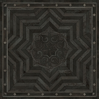 Spicher & Co vinyl floorcloth floor mat wood inlays black gray medallion star square