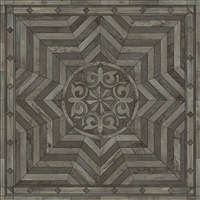 Spicher & Co vinyl floorcloth floor mat wood inlays shades gray medallion star square