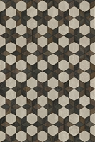 Spicher & Co vinyl floorcloth floor mat wood inlays black brown white stars