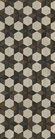 Spicher & Co vinyl floorcloth floor mat wood inlays black brown white stars runner
