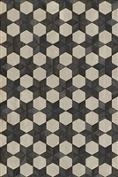 Spicher & Co vinyl floorcloth floor mat wood inlays black white stars