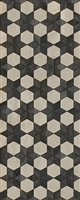 Spicher & Co vinyl floorcloth floor mat wood inlays black white stars runner