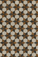 vinyl floor mat star pattern black brown cream