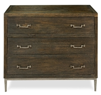 3-drawer contemporary chest dark brown wood brushed iron stand drawer pulls
