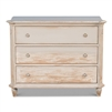 3-drawer chest commode light gray white distressed ring pulls