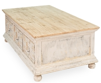 coffee table light pine wood distressed gray 4 large drawers metal pulls bun feet natural top Sarreid Ltd.