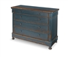 chest cabinet 4-drawer wood four round feet dark French blue distressed antiqued rustic pine