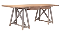 desk wood pine old planks sawhorse distressed gray 2 drawers transitional