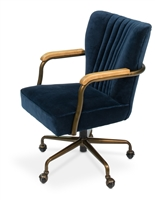 chair swivel desk navy blue velvet metal bronze wood oak arms castors channel stitching