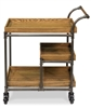 contemporary industrial wood shelves metal frame bar cart food trolly wheels