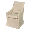 skirted arm chair beige linen