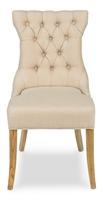 beige linen tufted upholstered dining chair wood legs