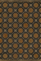 Spicher & Co vinyl floorcloth floor mat wood inlays mosaic parquet tan black