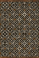 Spicher & Co vinyl floorcloth floor mat wood inlays mosaic parquet tan black gray vintage