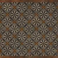 Spicher & Co vinyl floorcloth floor mat wood inlays mosaic parquet tan black gray vintage square
