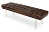 tufted bench seat vintage brown leather stainless steel