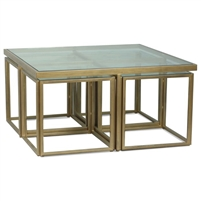 square coffee table four accent tables glass-top brass finish
