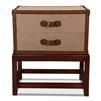 two-drawer chest stand canvas leather trim nail heads