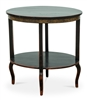 black distressed table oval lower shelf gold Greek key