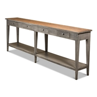 console hall table wood gray natural top six legs lower shelf 4 drawers