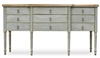 buffet sideboard pine wood gray distressed 9-drawer 6 legs natural top