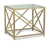 "rectangle side table iron glass gold finish ""x"" sides"