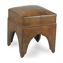 light brown leather footstool ottoman arched base nailhead trim