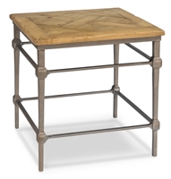 square table driftwood finish wood parquet top brushed iron base gray
