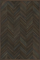 Spicher & Co. vinyl floorcloth floor mat wood inlays herringbone gray brown vintage