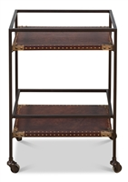 bar cart trolly bronze metal frame brown leather shelves casters wheels brass nail heads