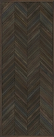 Spicher & Co. vinyl floorcloth floor mat wood inlays herringbone gray brown vintage runner
