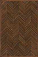 Spicher & Co. vinyl floorcloth floor mat wood inlays herringbone brown vintage square