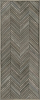 Spicher & Co. vinyl floorcloth floor mat wood inlays herringbone gray vintage runner