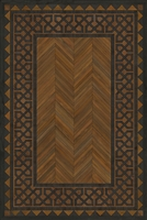 Spicher & Co. vinyl floorcloth floor mat wood inlays herringbone brown black vintage border