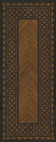 Spicher & Co. vinyl floorcloth floor mat wood inlays herringbone brown black vintage border runner