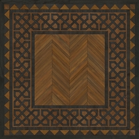 Spicher & Co. vinyl floorcloth floor mat wood inlays herringbone brown black vintage border square