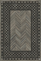 Spicher & Co. vinyl floorcloth floor mat wood inlays herringbone gray vintage border