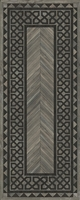 Spicher & Co. vinyl floorcloth floor mat wood inlays herringbone gray vintage border runner