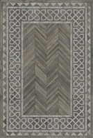 Spicher & Co. vinyl floorcloth floor mat wood inlays herringbone gray vintage border chair mat